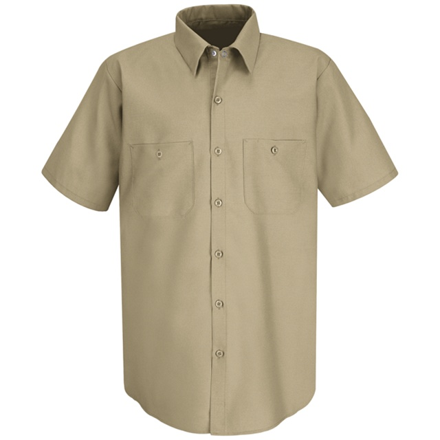 6bc8cb57a3 Men s Short Sleeve Industrial Work Shirt Khaki